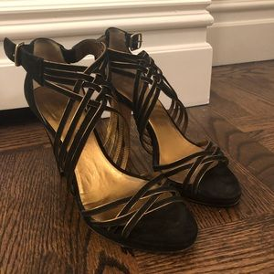 Banana Republic Suede Black w Gold Trim Heel